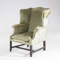 English chippendale wing chair mahogany frame with green silk upholstery 18th c losses to frame 41 x 32 12 x 32