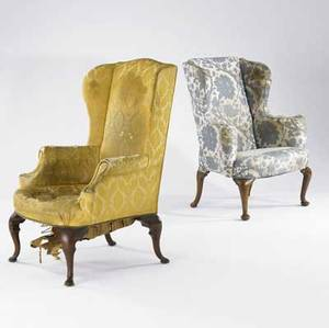 Two queen anne wing chairs mahogany frames with pad feet 18th c larger 31 x 25 12 x 44 12