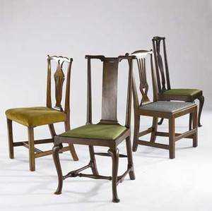 Four english chippendale chairs all 18th19th c largest 37 12 x 20 x 18