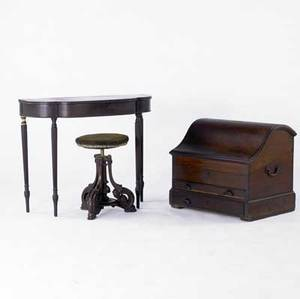 Traditional furniture three items include victorian organ stool reproduction sheraton card table and custom made valuables cabinet all 19th20th c largest 24 x 27 x 20