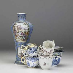 Chinese export approx forty pieces including five ginger jars missing lids vase cups and saucers and bowls all 19th c with damage largest 7 x 6