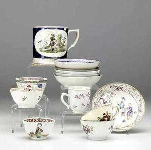 Chinese export approx fifty cups and saucers together with a bowl late 18thearly 19th c all with damage largest 6 x 3