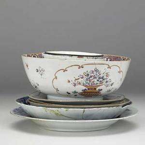 Chinese export ten pieces include six plates and four bowls 18th c all with damage largest 12 12