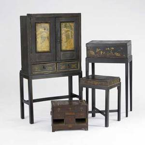 Oriental lacquer three boxes together with a twodrawer cabinet 19th20th c largest 26 x 11 x 47
