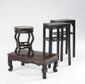 Asian furniture four pieces tabouret pair of tall stands and teak coffee table 19th c largest 31 x 26 x 22 12