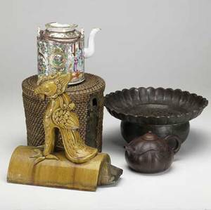 Asian grouping four pieces include roof tile redware teapot bronze flower center bowl and porcelain teapot in basketweave box most with damage largest 11 x 6 x 11