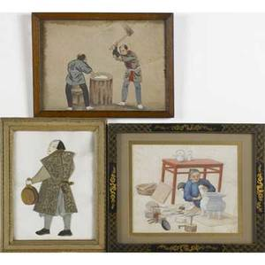 Six asian art works japanese watercolor on rice paper fabric collage of a warrior indian watercolor of a shepherd three chinese watercolors of domestic scenes mid19th c all framed largest 10