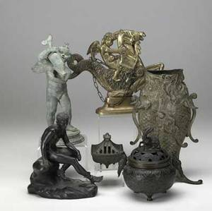 Metals grouping six pieces include two japanese bronze incense burners decorative brass serpent and cupid doorstop bronze male nude on rock figural fish vase statue of cupid with fish asis ta