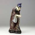 Chinese cloisonne figure with carved ivory head and hand and suspended fan 20th c 14