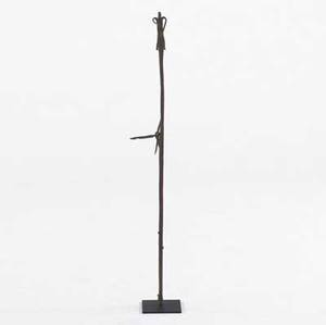 Dogon iron ritual staff mali created by blacksmiths 20th c mounted on display stand provenance private collection new york 42