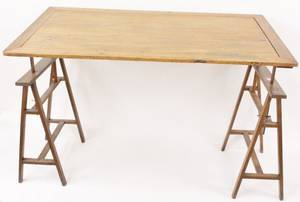 American Pine Wood Drafting Table or Sawhorse Desk