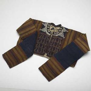 Sumatran womans jacket ikat fabric with applied sheel decoration and embroidered panels late 19th c 56 width between end of sleeves