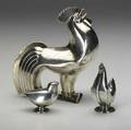 Norwegian silver sugar caster in roosterform oscar sorenson for j tostrup ca 1930 together with silver roosterform salt and pepperette largest 5 14 x 5