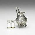 American and norwegian silver eoff  phyfe footed cream pitcher with raised floral decoration ca 1850 new york city 5 14 x 3 dia together with david anderson owlform enameled salt shaker and