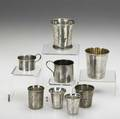 American  mexican silver eight pieces include two small kiddish cups and six assorted drinking vessels 74 ot tallest 2 78