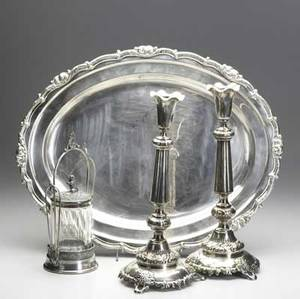 European silverplate  judaica pair of fraget and plaque sabbath candlesticks large cheltenham english silver salver and victorian silverplate and blown glass sugar cannister salver 21 x 16 34