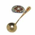 Enameled accessories two pieces include gold ring and russian silver spoon spoon 8
