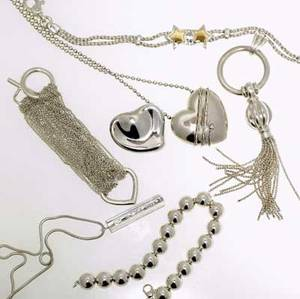 Tiffany  co seven pieces of silver jewelry include necklaces bracelets and a brooch 1761 gs gw