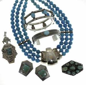 Silver and turquoise jewelry seven piece assembled suite of navajo jewelry 19701980 cuff by t jim pendant and ear clips triple strand bead necklace bangle bracelet 2 58 int cir handmade t