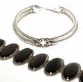 Mexican silver bracelet and collar del rio obsidian and sterling bracelet 7 34 together with unknown maker modern design collar 12 2124 gs gw