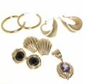 14k gold jewelry four pairs of earrings and an amethyst enhanser 326 gs gw