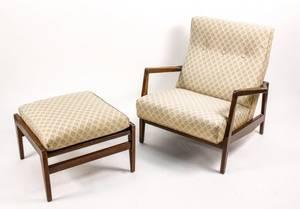 Jens Risom Cream Colored Lounge Chair w Ottoman