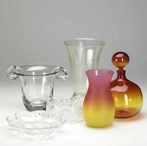 Glass grouping six pieces include steuben type ice bucket amberina vase and stoppered bottle green depression vase and two pieces of cut glass tallest 12