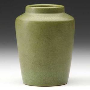 Van briggle early vase covered in matte green glaze 1906 two short tight lines to rim aa van briggle 44 1906 h 5 14 x 4