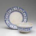 Dedham crackleware plate and bowl in the clockwise rabbit pattern bowl 3 x 6 14