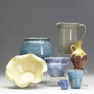North carolina pottery box lot seven items by unidentified potteries includes a vessel in chinese glaze and pitcher possibly by north state one pitcher illegibly marked chinese glaze vase 5