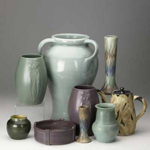 Art pottery box lot includes two peters  reed one cracked pisgagh forest shouldered vase two mccoy ovoid pots one cracked several pieces of ohio pottery tallest 16 14