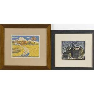 Ej wilcox two color woodblock prints one by wilcox with a cabin in the snow the other one by unknown artist of bright and sunny farmstead both matted and framed wilcox signed image 6 12 x 7