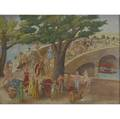American painting orientalist fantasy with erotic figures oil on board framed signed rcv and dated 1940 16 x 20 12