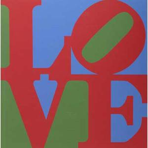 Two contemporary works of art robert indiana american b 1928 love poster 2002 signed in plate 33 34 x 28 joseph meerbott american 20th c untitled floral still life enamel on al