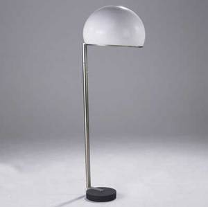 Gregotti meneghetti and stoppino  arteluce floor lamp with hemispheric molded plastic shade on ironcast base ca 1966 63 x 18 12 dia