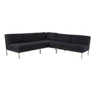 Modern twopiece sectional sofa with navy blue upholstery on steel base each section 28 12 x 83 x 28