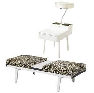 George nelson  herman miller two pieces singledrawer end tablelamp with original silk shade and integrated copper planters together with metal bench with original leopard fur upholstered cushions