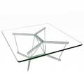 George nelson  herman miller catenary coffee table with plate glass top on polished steel base 15 14 x 36 sq