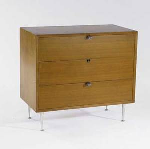 George nelson  herman miller three drawer chest with walnut veneer and spun aluminum legs missing one pull 31 x 34 x 18 12