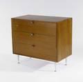 George nelson  herman miller three drawer chest with walnut veneer and spun aluminum legs 31 x 34 x 18 12