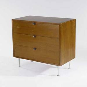 George nelson  herman miller three drawer chest with walnut veneer and spun aluminum legs 31 x 34 x 18 12
