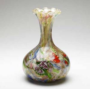 Avem tutti frutti glass vase with ruffled rim 9 34 x 6 14