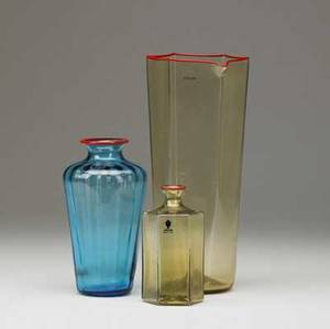 Venini three glass pieces with red lip wraps an esagonali vase and carafe in amber 1981  2004 and a paneled vase in teal 2002 all signed and dated also have venini clear labels carafe 10 x