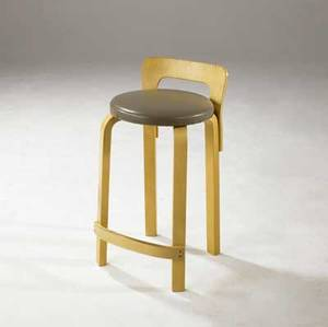 Alvar aalto  artek birch plywood stool with gray leather seat icf label 28 14 x 14 x 13
