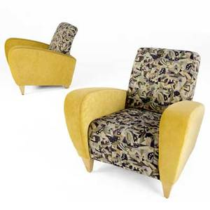Art deco pair of lounge chairs upholstered in golden velvet with geometeric patterned cushions on tapered feet 34 x 35 x 35