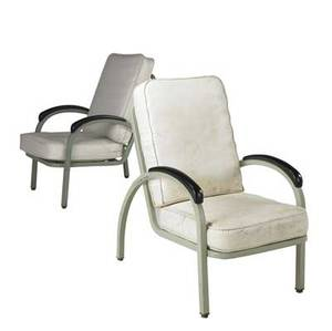 Norman bel geddes  simmons co pair of enameled steel chairs with vinyl cushions simmons labels 37 x 23 14 x 37