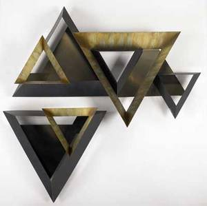 Curtis jere twopiece geometric wall sculpture with enameled steel and brass panels 1994 signed and dated with copyright 30 x 43 and 21 x 24