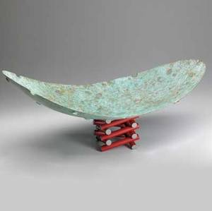 Jonathan bonner sculptural patinated metal dish on stacked red enameled base 1985 signed and dated 12 x 29 x 15 12