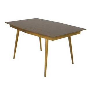 Samson berman extension dining table with woodgrain laminate top on maple base and three 14 leaves closed 29 x 53 12 x 36
