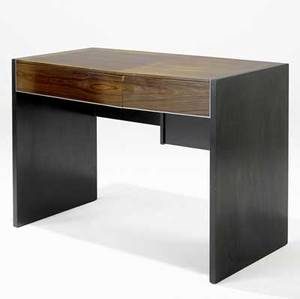 Glenn of california desk in bookmatched veneer and ebonized oak the two drawers with interior dividers glenn of california circular metal tag 29 x 49 34 x 24